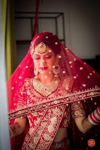 Dupatta as veil bridal shot