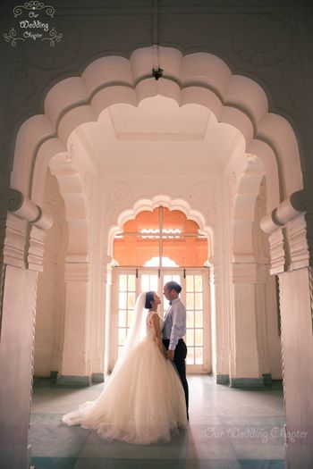 Flared White Wedding Gown with Veil