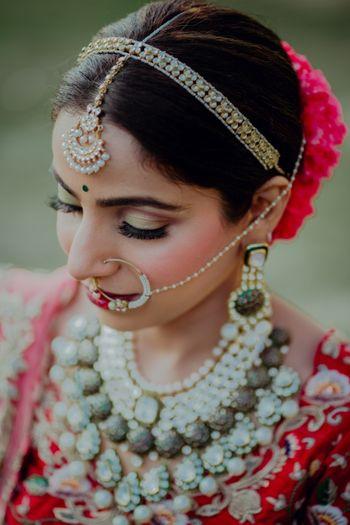 bridal hairband with stones and maangtikka