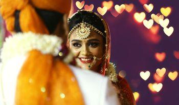 Smiling Bride Portrait - Gold Mathapatti