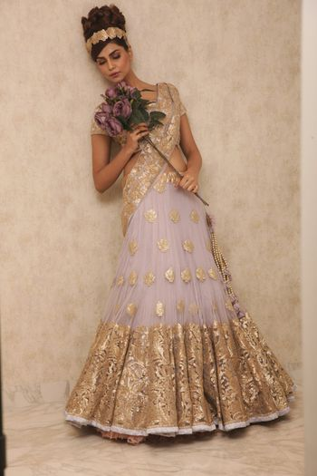 lavender and gold lehenga with soft pleated lavender net