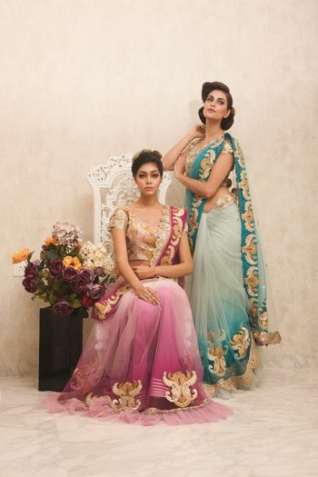 Photo of purple and aqua blue ombre saree with gold gota work