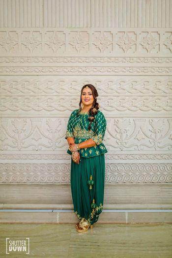 Peplum blouse with dhoti pants on mehendi