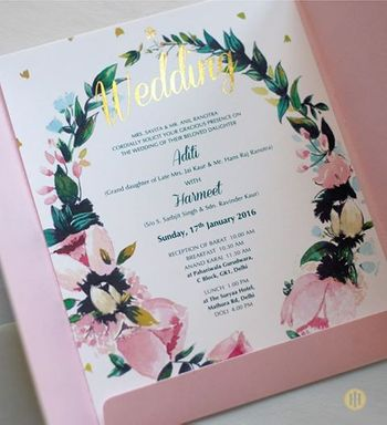 Vintage floral pink and white wedding invites