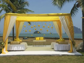Beach Themed Yellow Mandap Decor