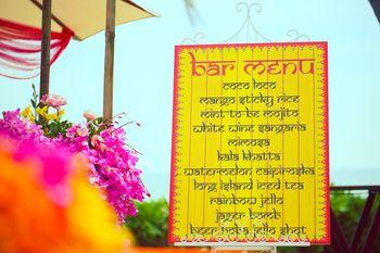 Bar menu board for day decor
