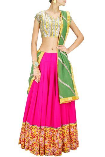 bright pink georgette cotton lehenga with big kashmiri work border and gota work blouse. olive green dupatta