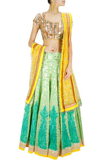 sea green and yellow lehenga with gota blouse and yellow dupatta