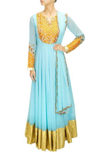 full sleeves anarkali with yellow yolk embroidery and cuffs