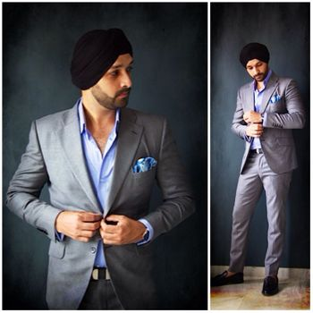 steel grey suits with pastel blue jacket