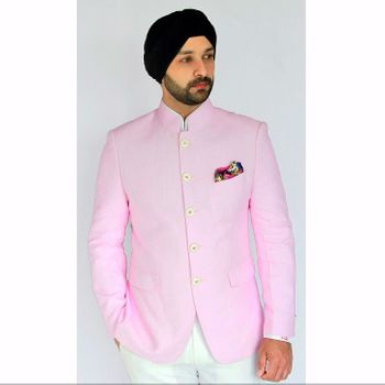 Photo of light pink bandhgala jacket with pocket square