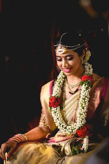 South Indian bride with jaimala