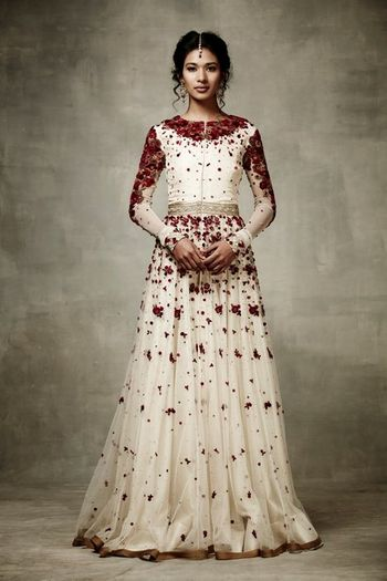 Photo of white and red anarkali