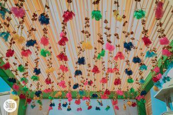 Hanging tassels for mehendi decor from tent