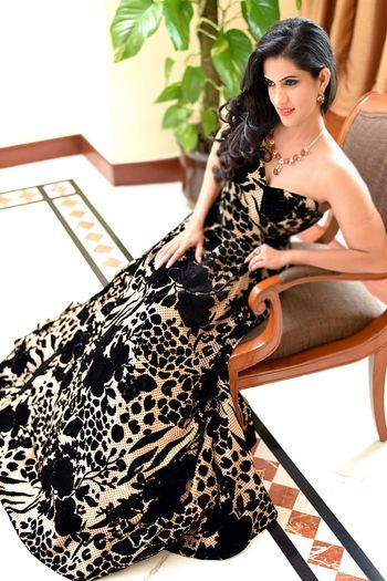 black and beige printed tube gown