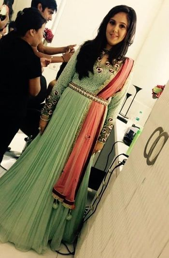 Photo of mint green anarkali full sleeves with coral peach dupatta