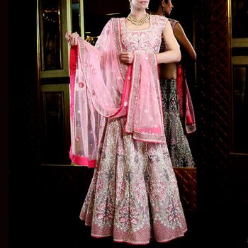 reception or cocktail shimmery pink and silver lehenga