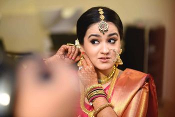 Photo of south indian bride getting ready shot