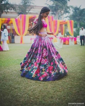 Bright pink and grey floral print lehenga for mehendi