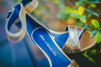 Gold Bridal Heels with Initials and Wedding Date