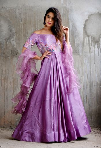 Pretty purple anarkali suit with ruffled dupatta