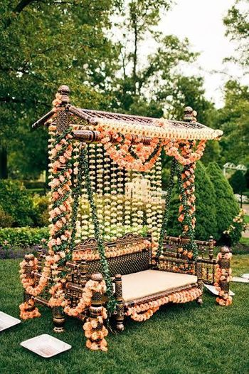 Stunning swing with floral decor for mehndi