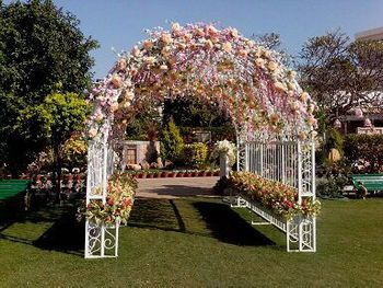 Floral archway entrance decor