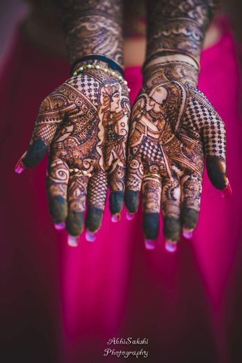 Half and Half jaimala portrait in mehendi