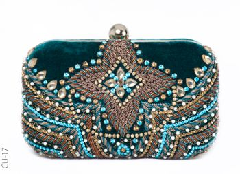 teal beaded clutch with velvet
