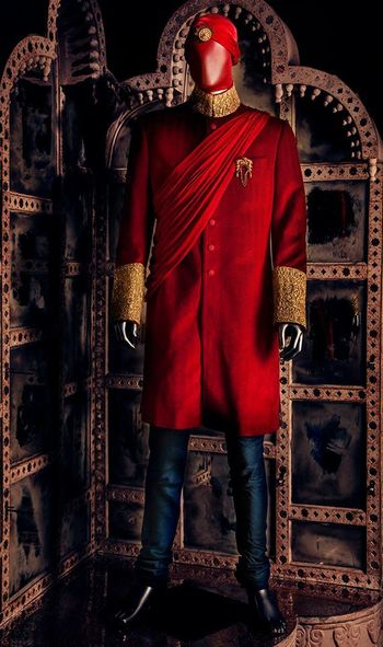 Photo of red sherwani
