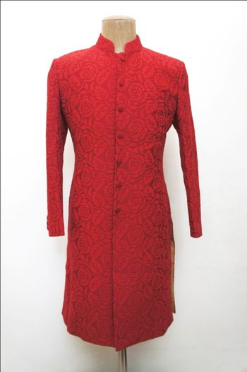 red self embroidered sherwani full sleeves