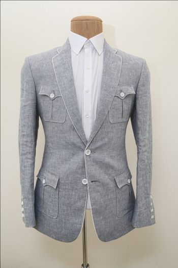 Photo of grey fleece flannel jacket suit