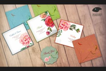 Girly rose floral print invitation and cards