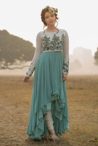 Photo of mint and jade irregular hemline chiffon pleated high low anarkali with churidar