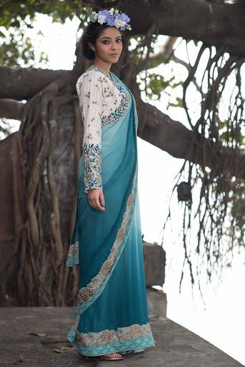 Photo of shaded light blue and turquoise ombre saree with full sleeved blouse in white