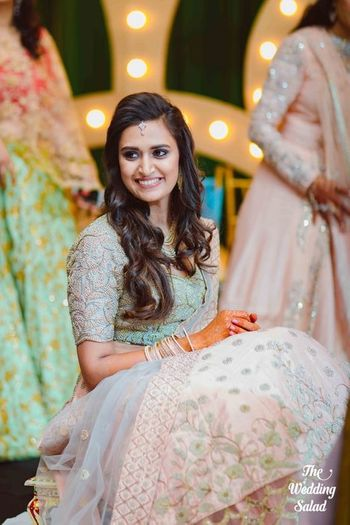 Pastel mint blue and blush pink engagement lehenga