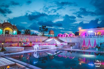 Palace Wedding Venue with Poolside Decor in Pink