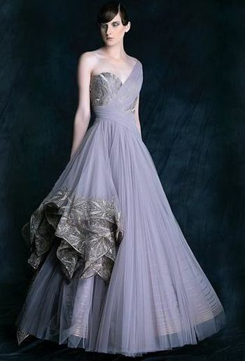 Photo of soft lavender gown offshoulder