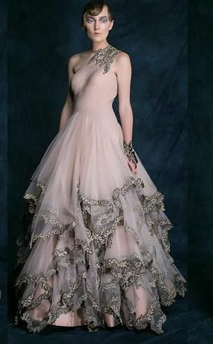 ruffled gown in soft blush pink