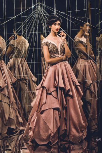 Off shoulder layered dusty pink gown