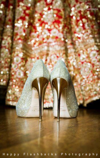 Sparkly heels against bridal lehenga