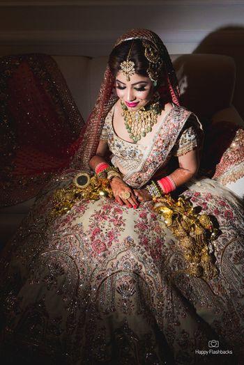 Offbeat bridal lehenga wth floral embroidery