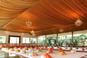 Orange Tent with Mini Chandeliers Decor