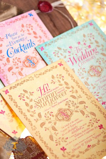 Pastel wedding invitations with multiple cards