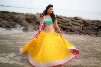 Sea Blue and Yellow Twirling Lehenga