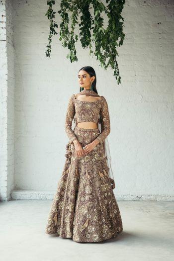 Beautifully offbeat hazel lehenga for modern brides