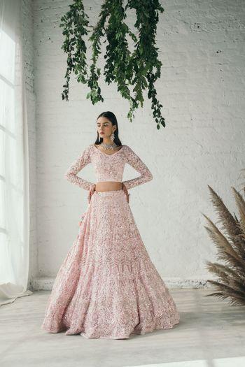 Beautiful light pink bridal lehenga