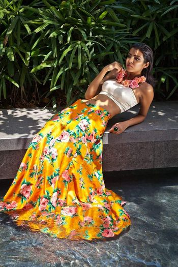 Photo of floral print lehengas