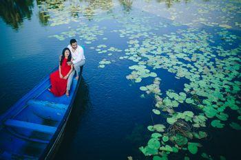 Couple pre wedding shot on boat