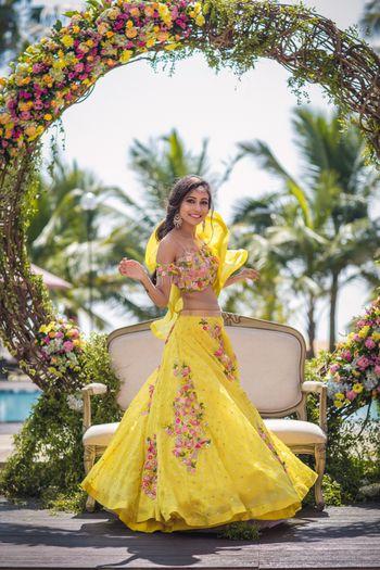 Yellow floral lehenga for mehendi or haldi